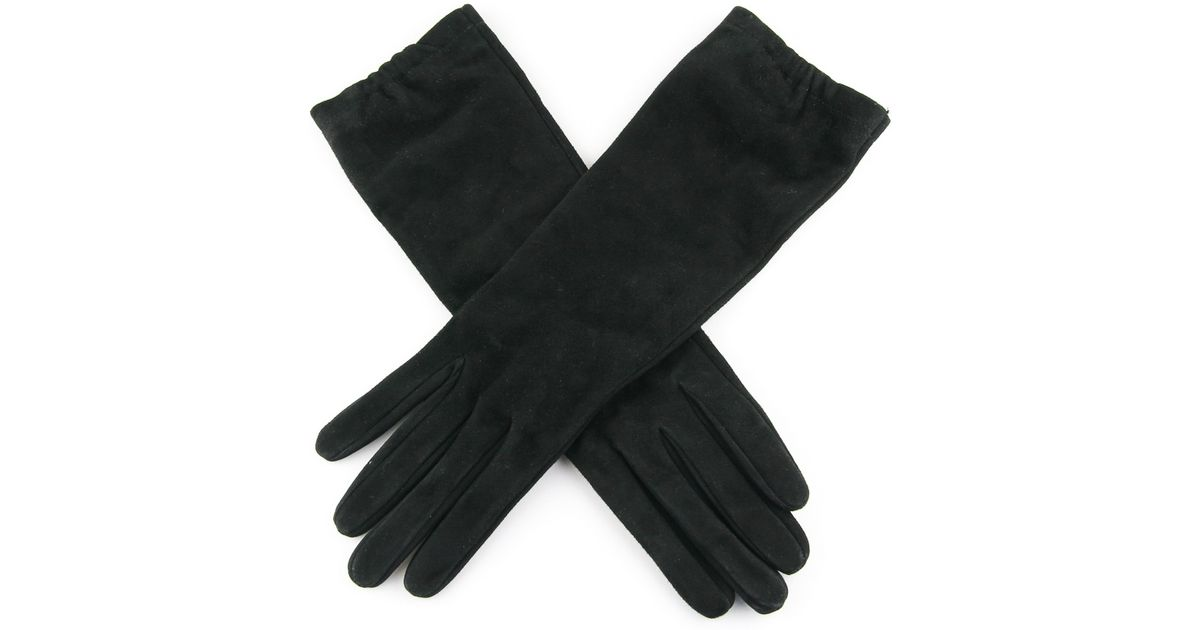9b93fbc6a Black.co.uk Ladies' Long Black Italian Suede Gloves –silk Lined in Black -  Lyst