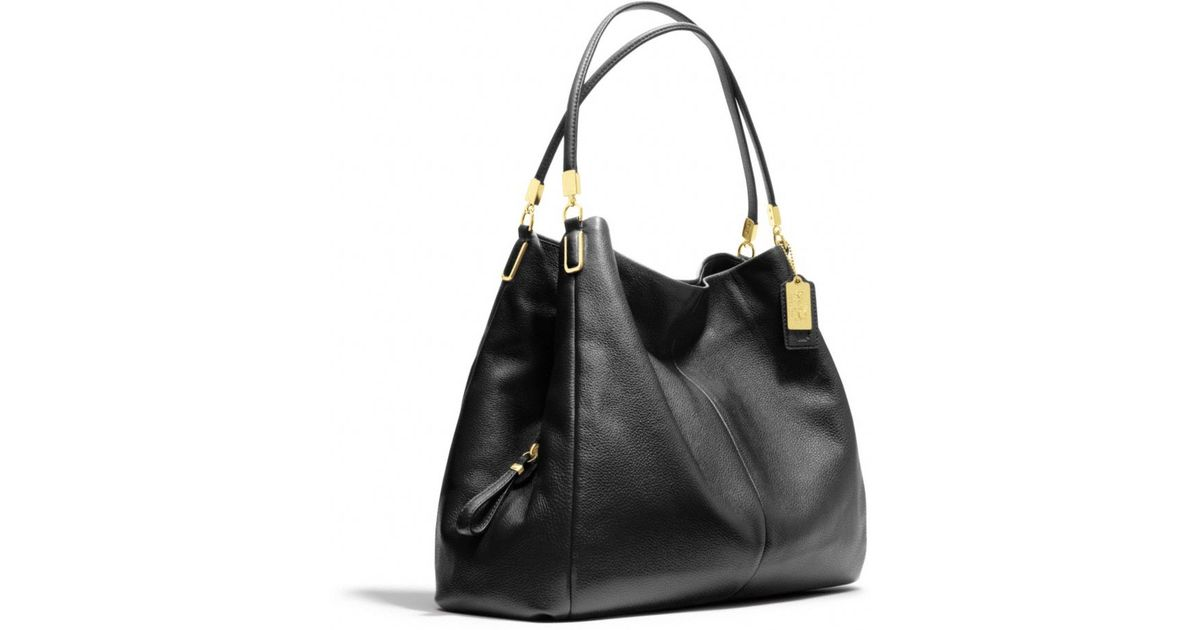 1720fc05cd Lyst - COACH Madison Phoebe Shoulder Bag in Leather in Black