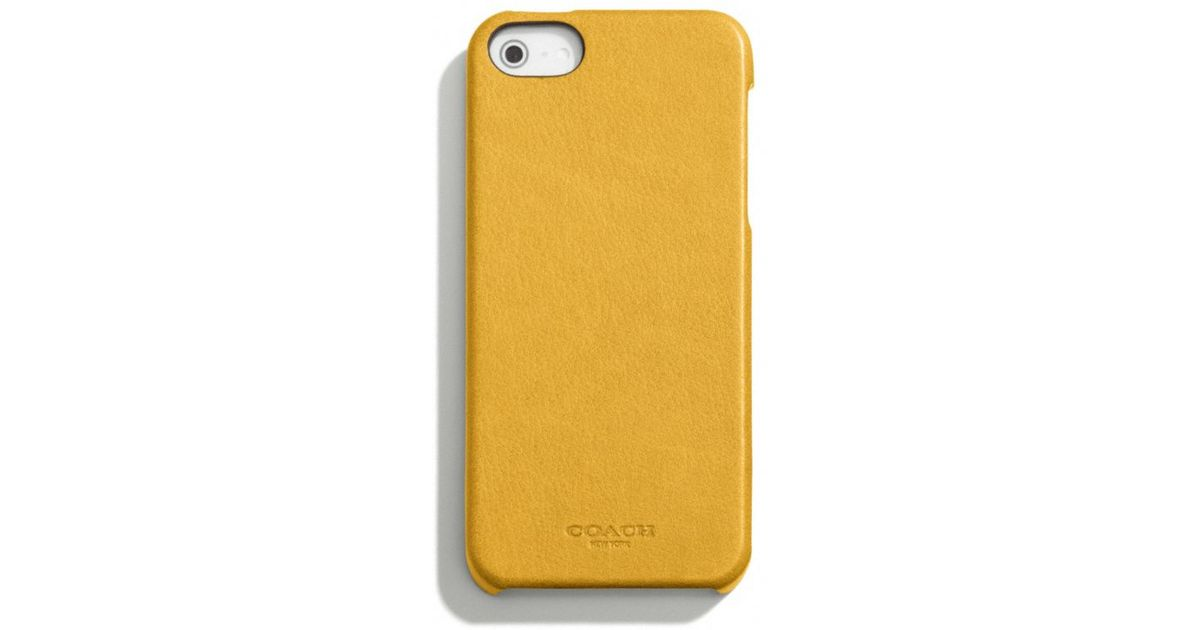 online retailer db41c 2e576 COACH Yellow Bleecker Leather Molded Iphone 5 Case for men