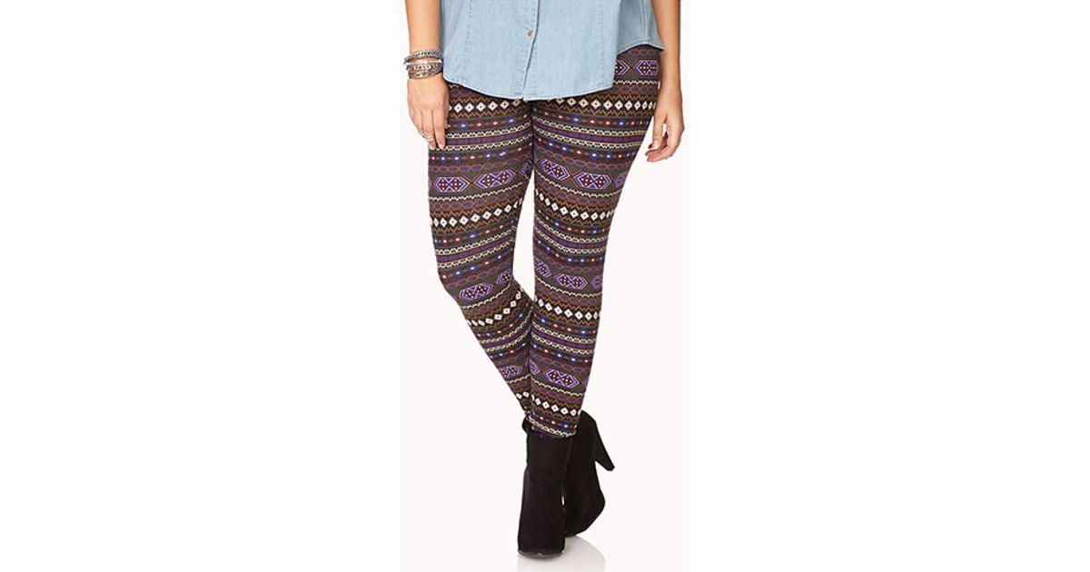 Lyst - Forever 21 Cozy Fair Isle Leggings in Purple