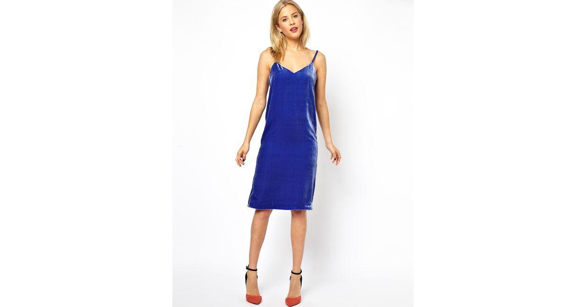 Lyst - ASOS Silk Velvet Cami Midi Dress in Purple 759723263