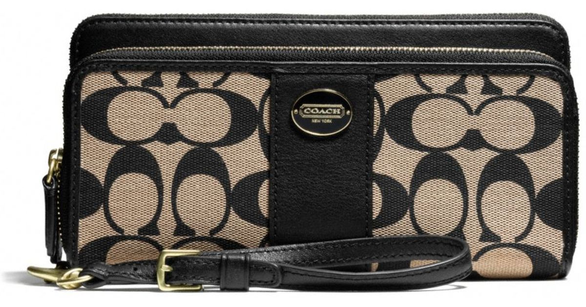 8016b6bb COACH Black Legacy Double Zip Accordion Wallet in Printed Signature Fabric