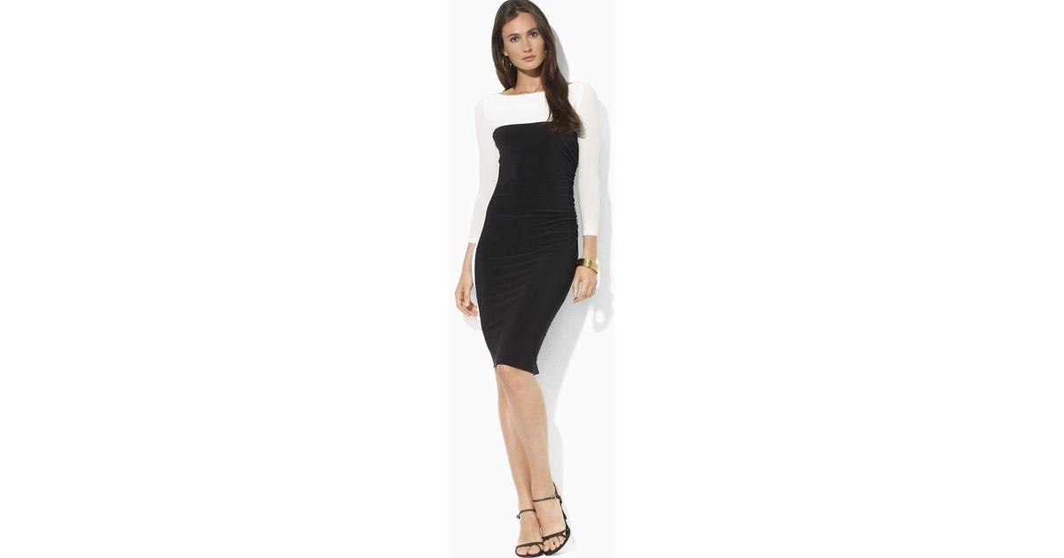 4f0eb9f5 Ralph Lauren Black Three Quarter Sleeve Color Block Sheath Dress
