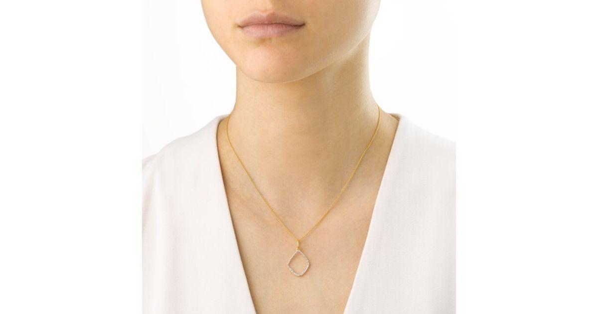 c938390038f0d0 Monica Vinader Riva Diamond Hoop Pendant in Metallic - Lyst