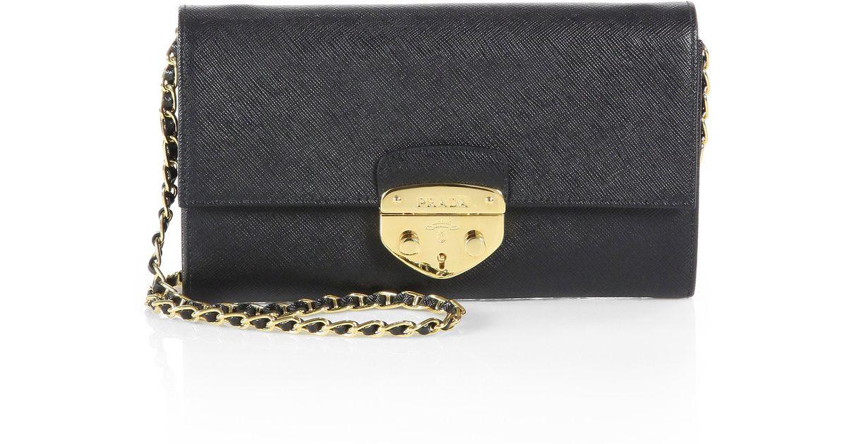 f8156fbca81d Lyst - Prada Saffiano Lux Convertible Chain Wallet in Black