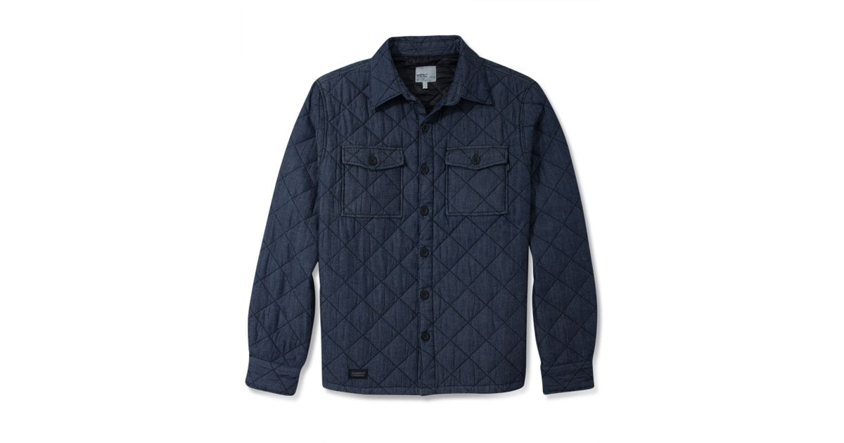 Lyst Wesc Quilted Shirt Jacket In Blue For Men