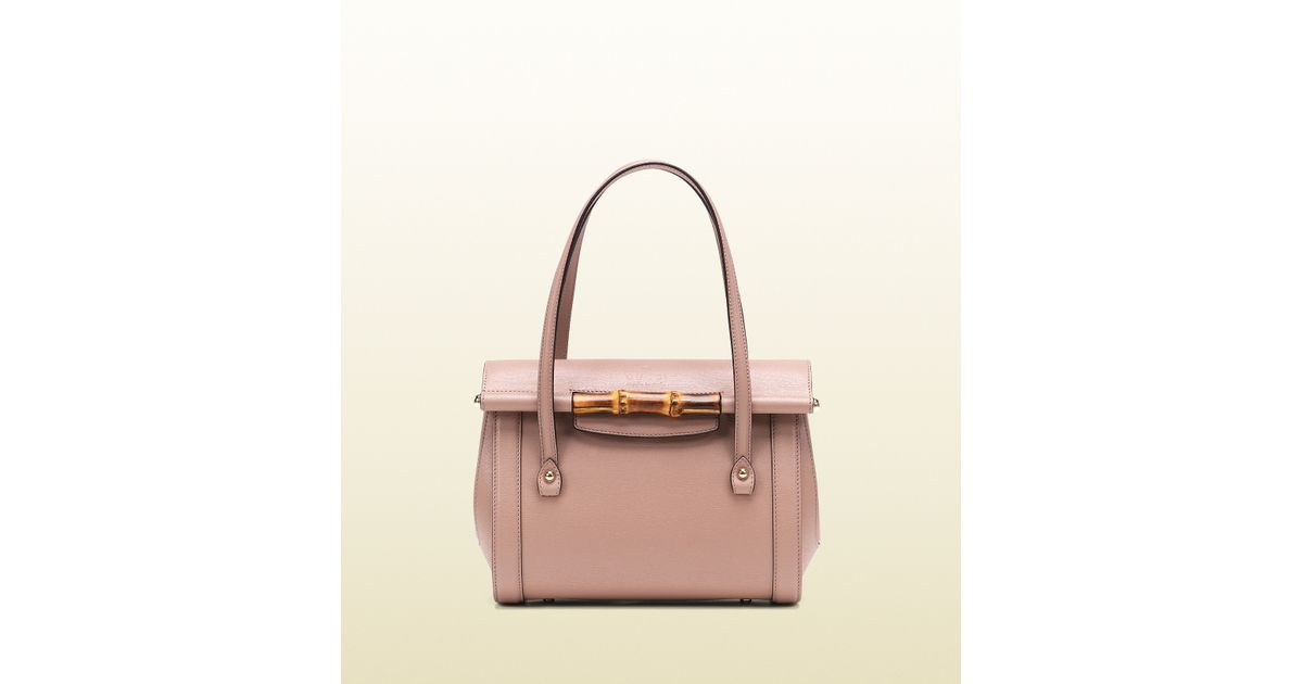 58d27c503d2 Lyst - Gucci Bamboo Leather Top Handle Bag in Pink