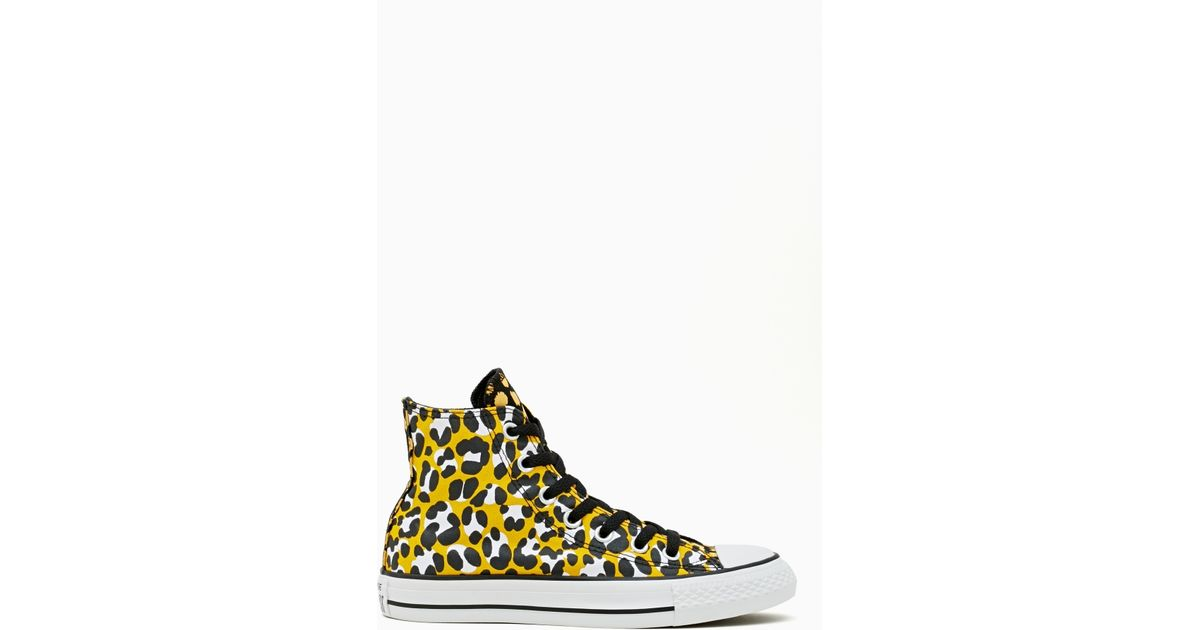 197c2ffc81b Lyst - Nasty Gal Converse All Star Hightop Sneaker Leopard in Yellow
