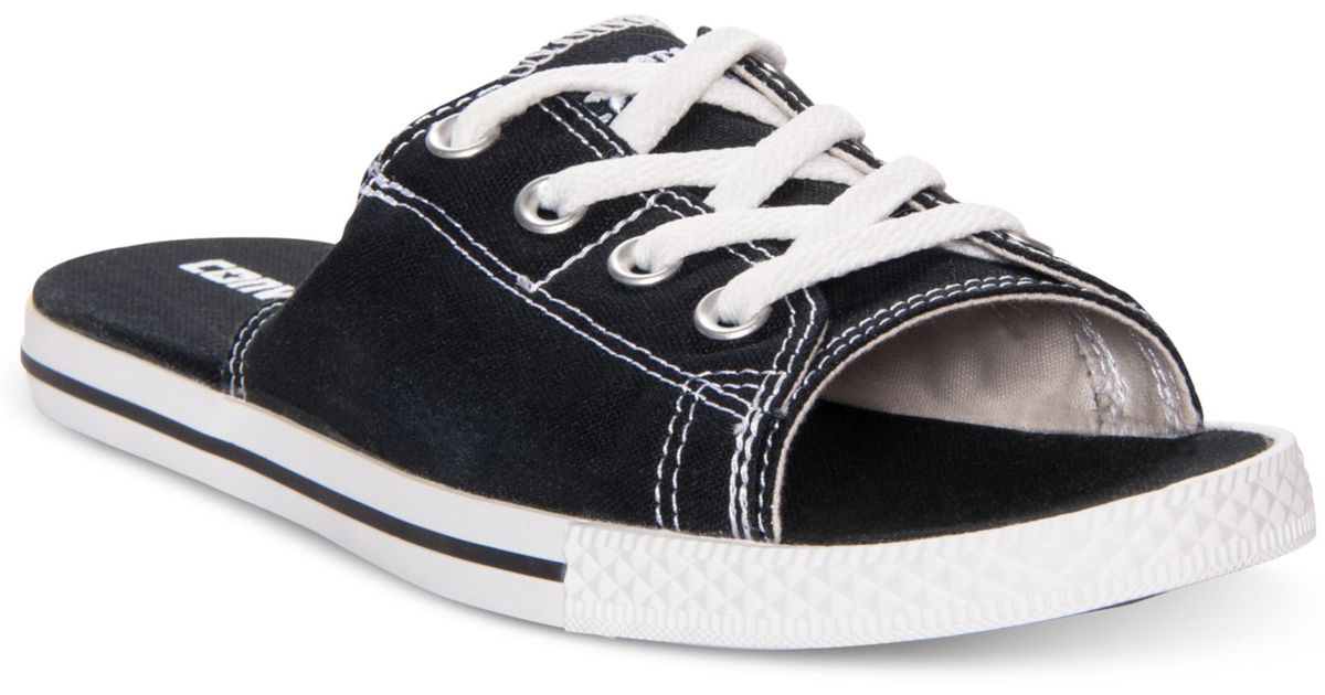 Lyst Converse All Star Cutaway Evo Slide Sandals In Black