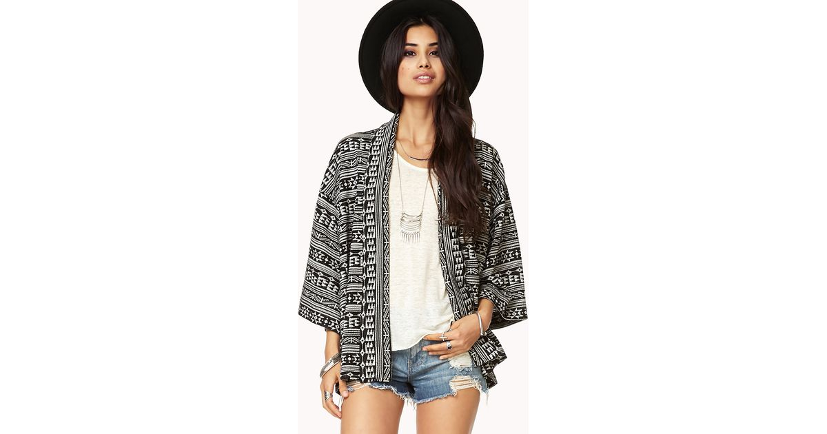 Forever 21 Fair Isle Open-front Cardigan in White | Lyst