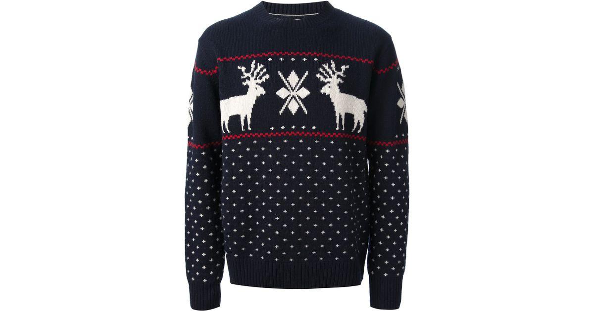Lyst - Gant Reindeer Sweater in Blue for Men