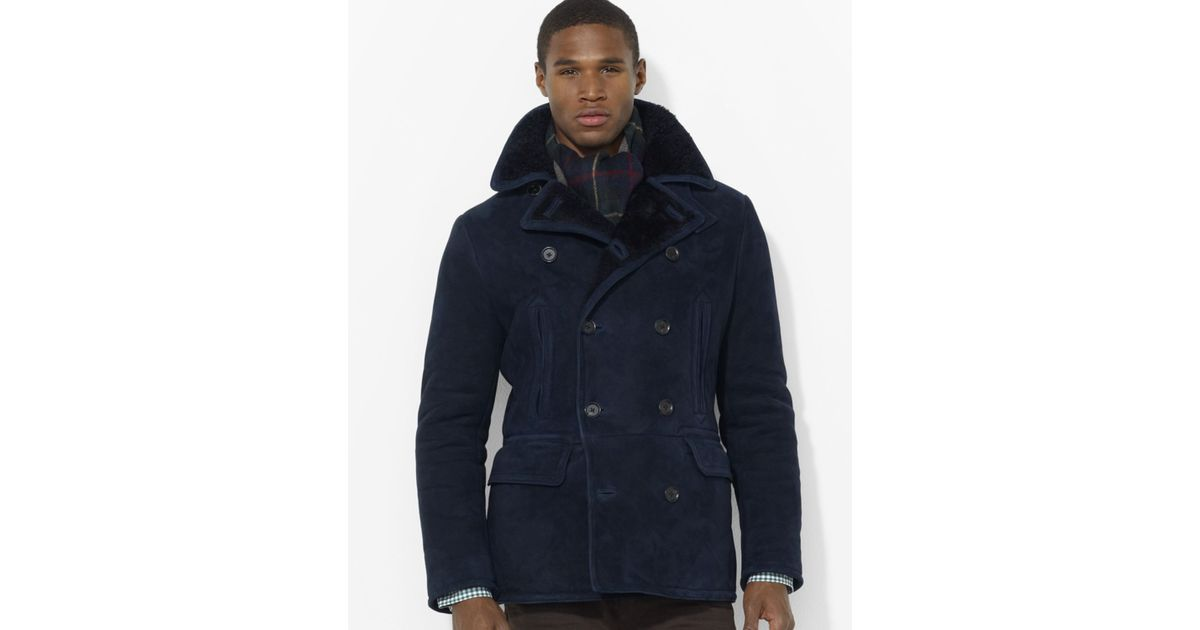 Shearling Lauren Ralph Coat In Pea For Lyst Blue Polo Men T1FKulc5J3