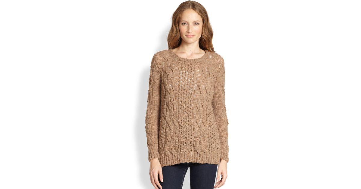 Augden Open-Weave & Cable-Knit Sweater in Brown | Lyst