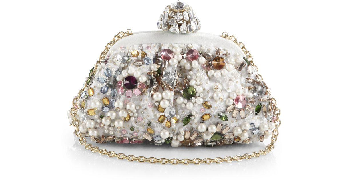 58364bd10d Lyst - Dolce   Gabbana Miss Dea Jeweled Clutch in White