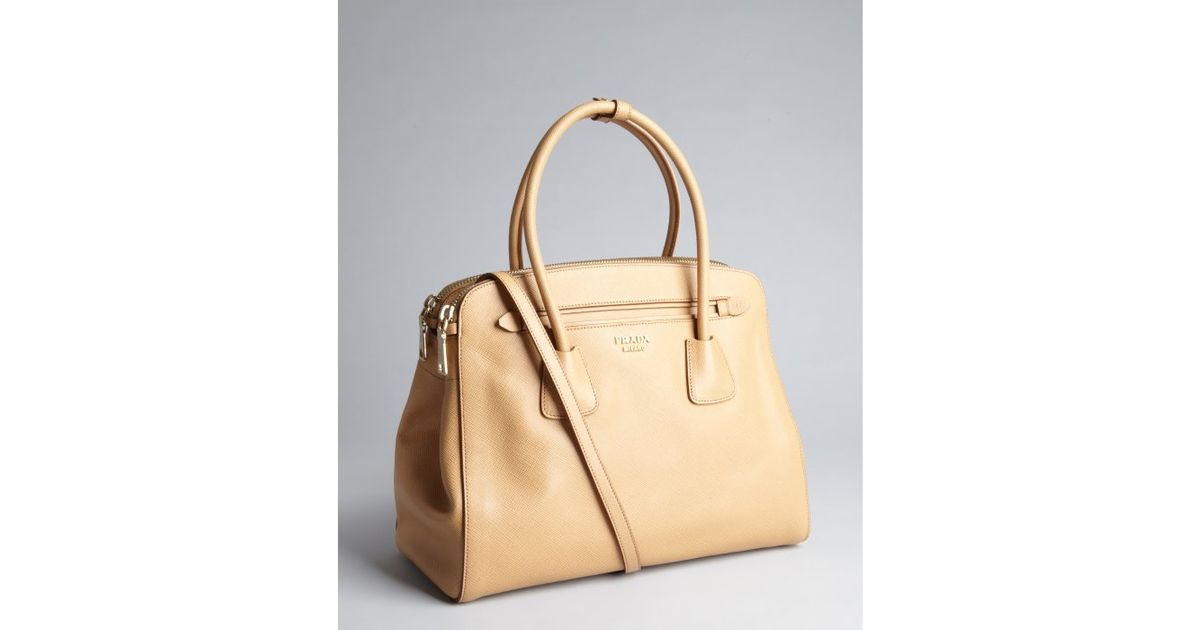 Prada Khaki Saffiano Leather Convertible Top Handle Bag in Khaki ...