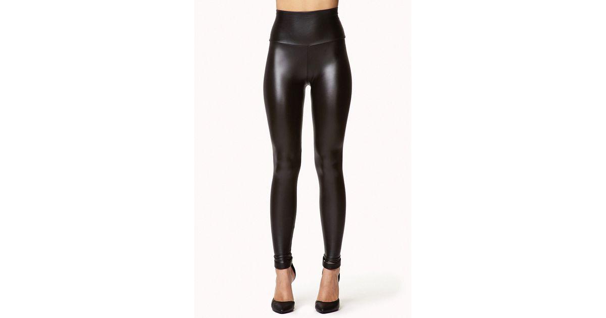 822c3e4ec09 Forever 21 Faux Leather High Waist Leggings in Black - Lyst