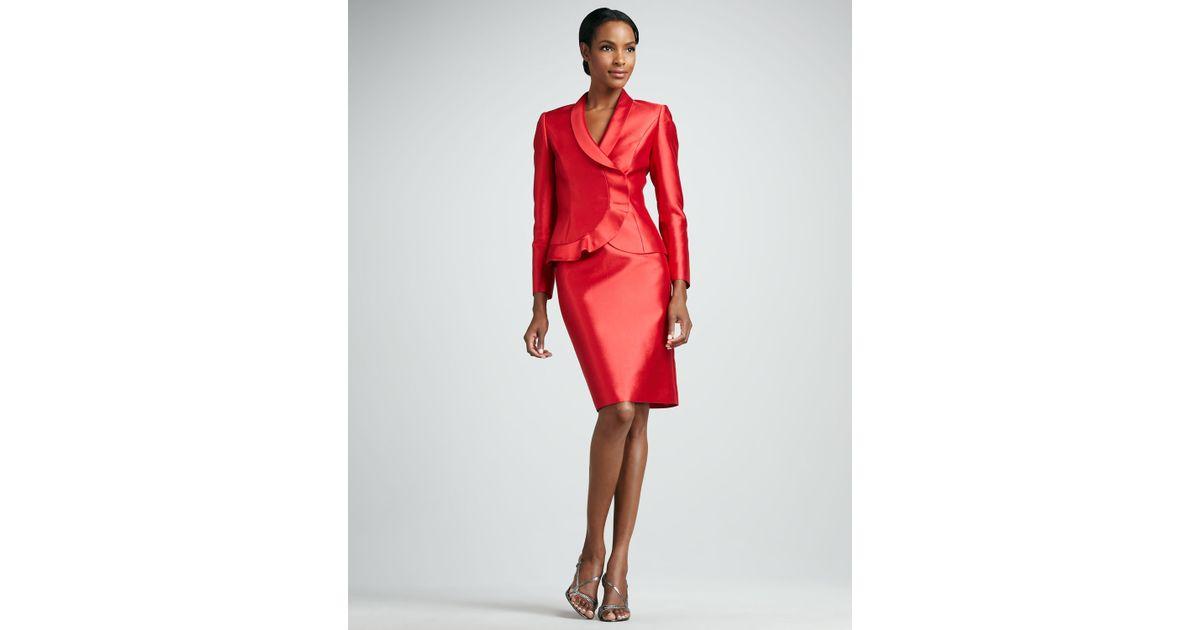 e4b5ab95b7a8 Tahari Ruffled Organza Skirt Suit in Red - Lyst