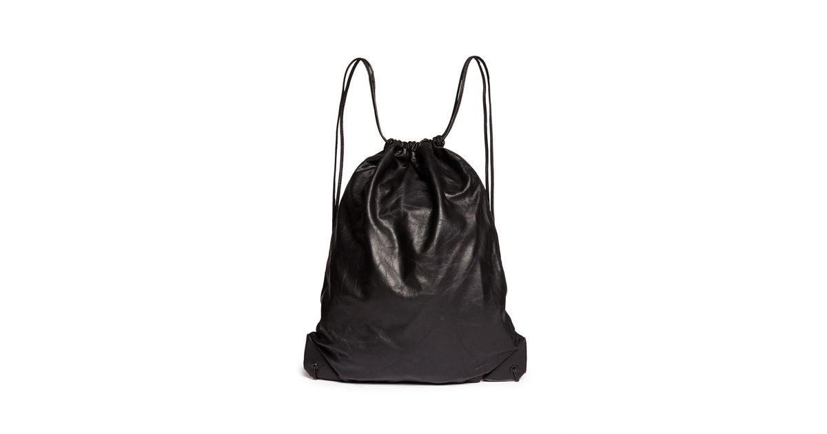 Lyst Alexander Wallie Lamb Leather Gym Sack Backpack In Black For Men