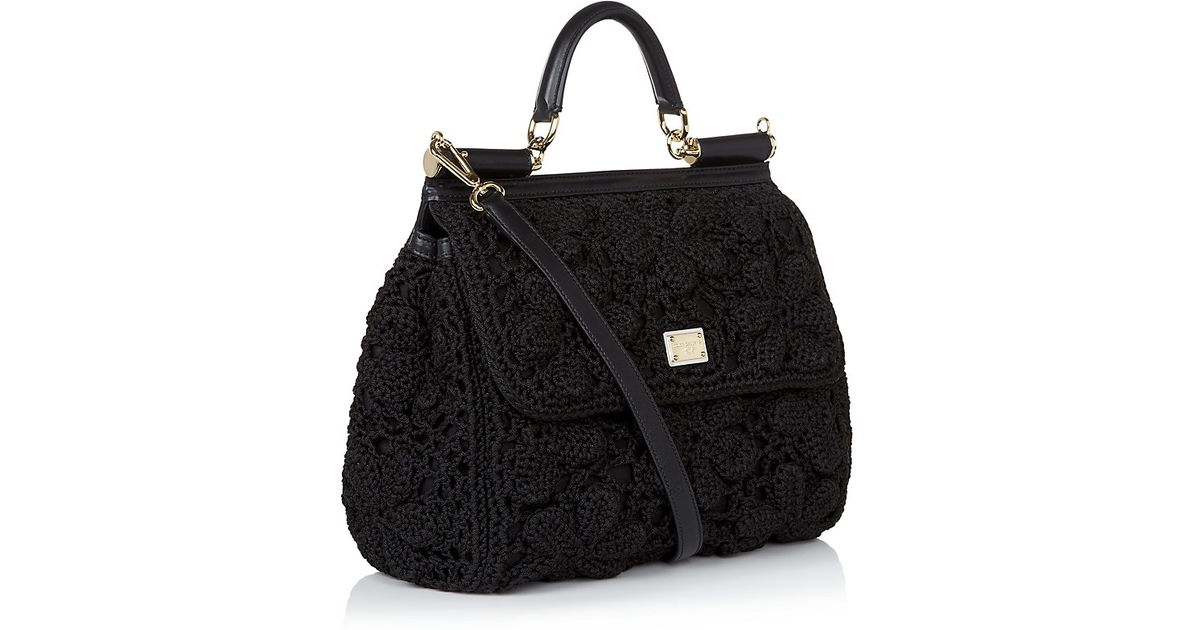 b9bfaa33de03 Dolce   Gabbana Miss Sicily Classic Crochet Bag in Black - Lyst