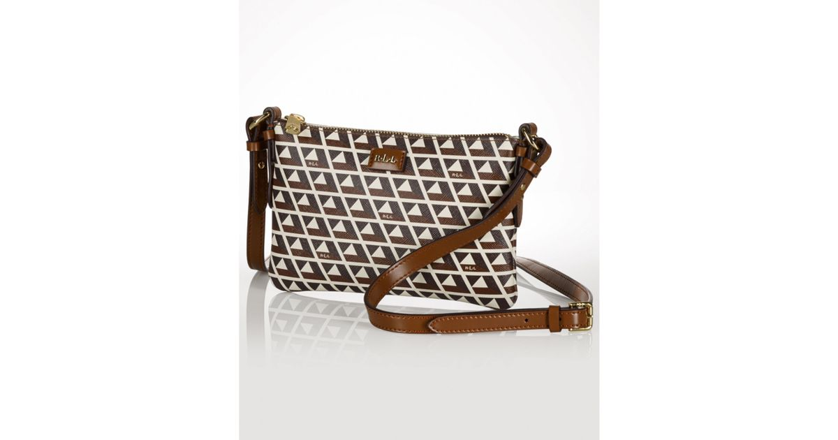 Lyst Lauren By Ralph Handbag Romilly Tile Small Crossbody In Brown