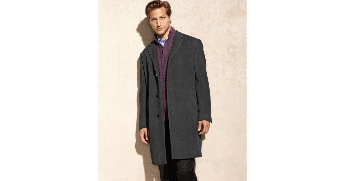 a4e8c6402f95 Lyst - Calvin Klein Plaza Charcoal Twill Wool-blend Overcoat in Gray for Men