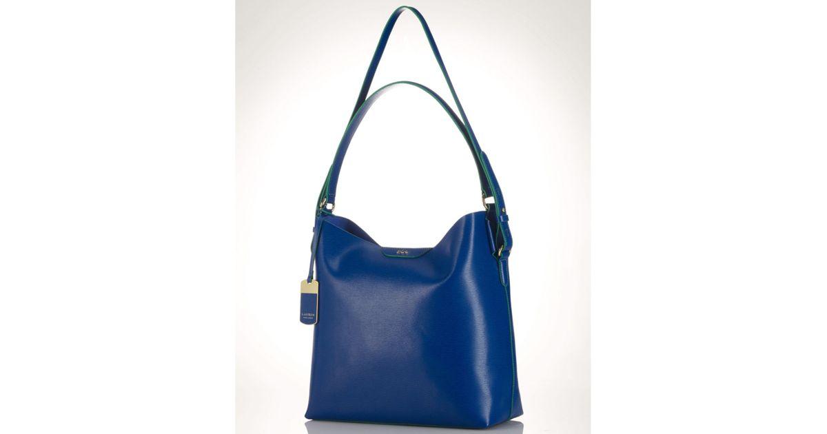 bbf9da7b25 ... buy lyst lauren by ralph lauren lauren ralph lauren handbag tate hobo  in blue df9c1 28ff2