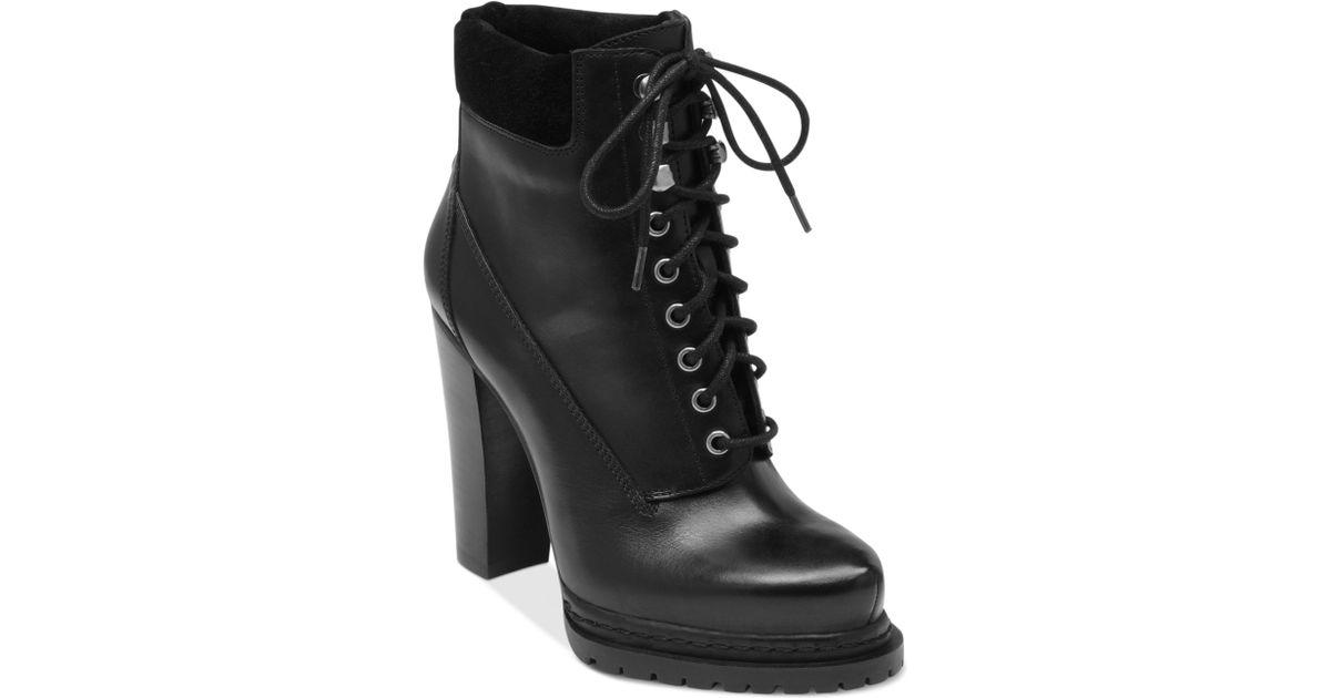 Lyst Bcbgeneration Martins High Heel Combat Booties In Black
