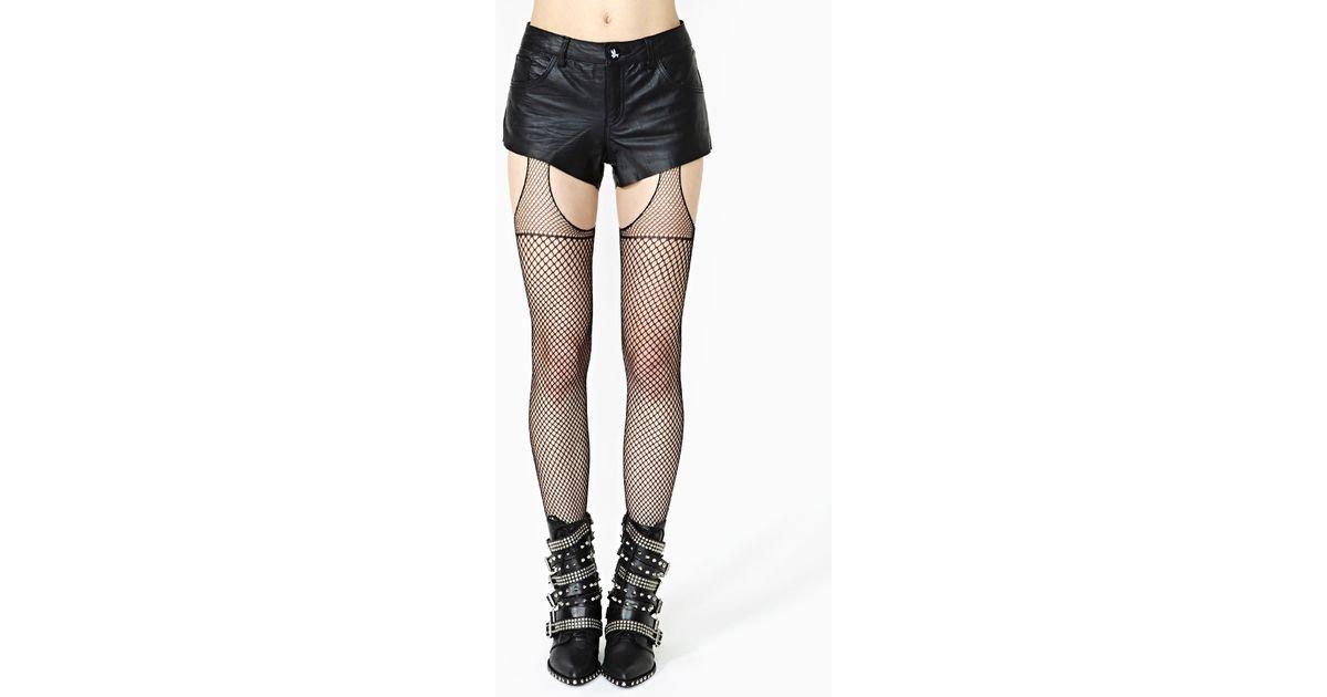4621bdf72454f Lyst - Nasty Gal House Of Holland Fishnet True Suspender Tights in Black