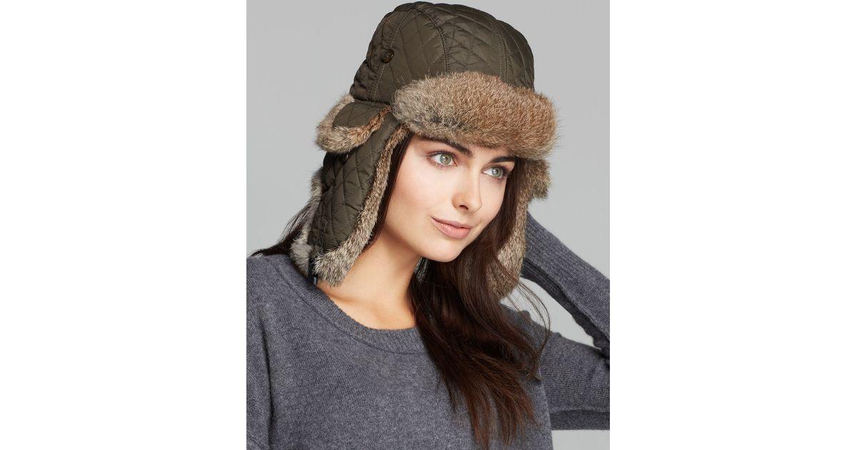 42837b45ed3 Lyst - Surell Rabbit Fur Aviator Hat in Brown