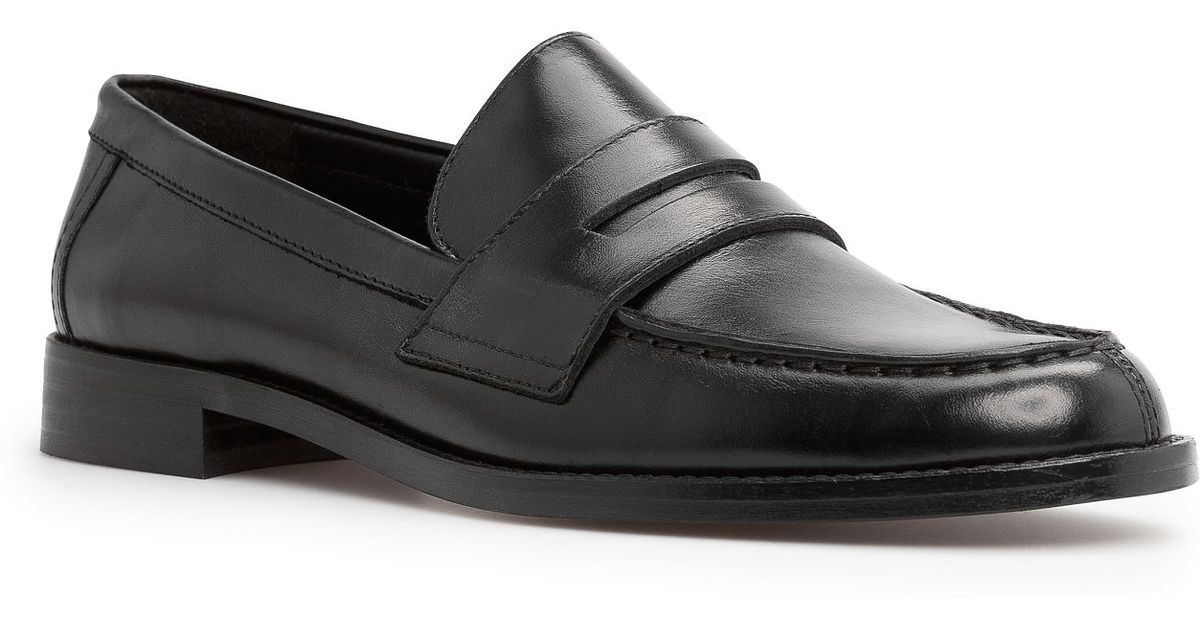 Mango Leather Penny Loafers in Black - Lyst