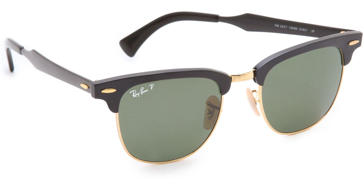 ray ban oversized two tone clubmaster sunglasses  ray ban blackpolar green oversized two tone clubmaster sunglasses product 1 13769142 151920303.jpeg