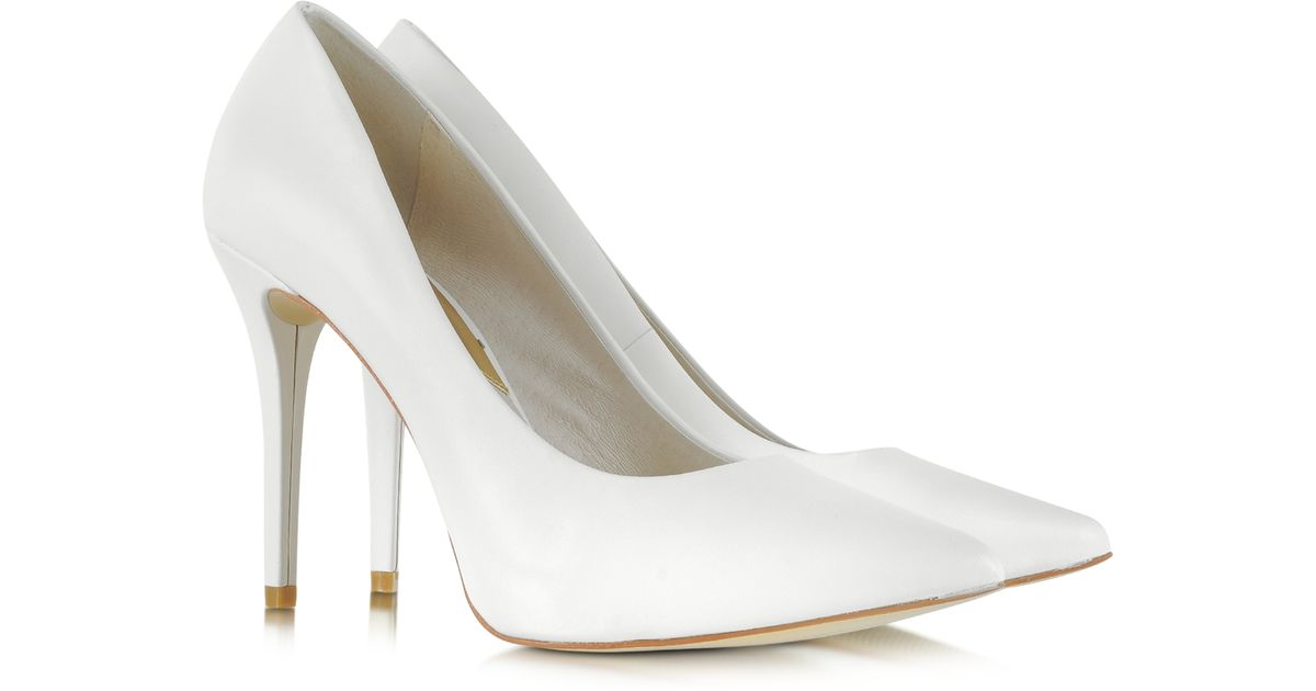 098f9d94683d Lyst - Michael Kors Joselle Optic White Pointed toe Leather Pump in White  ...
