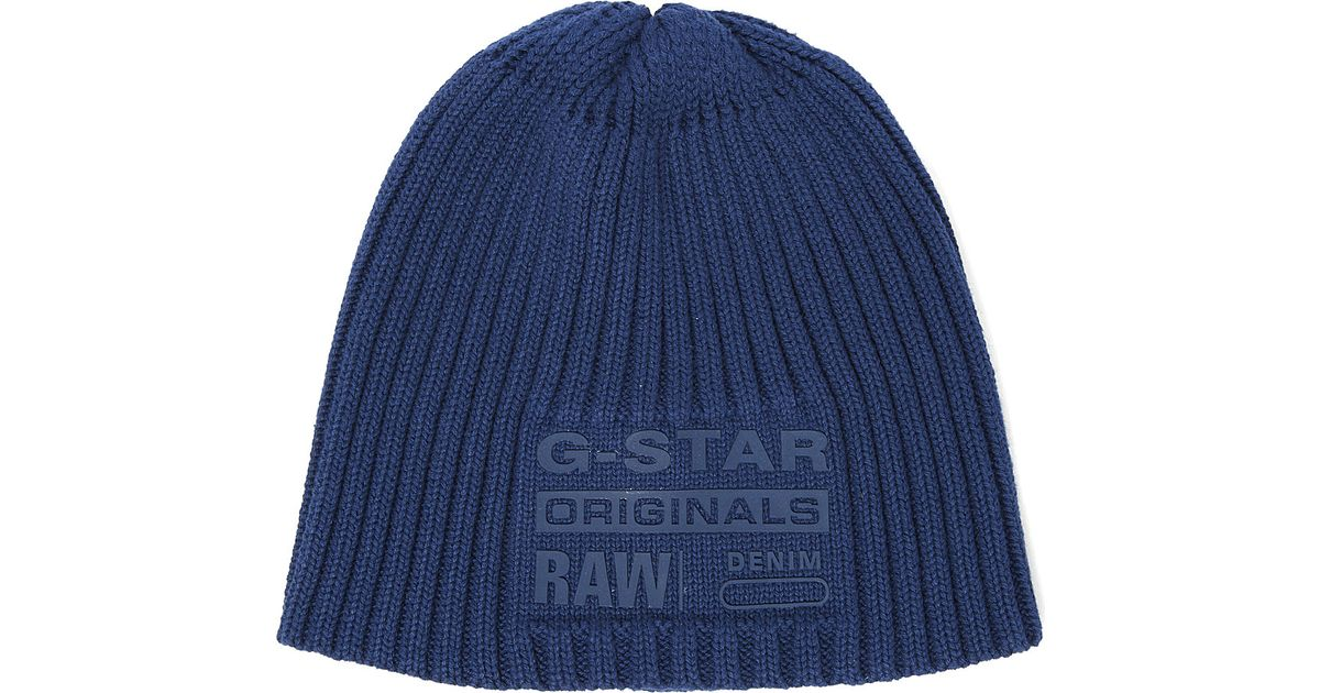 5c9e5c5c1 G-Star RAW Blue Milton Originals Knitted Beanie Hat for men