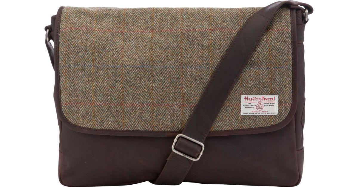 John Lewis Brown Harris Tweed Messenger Bag For Men