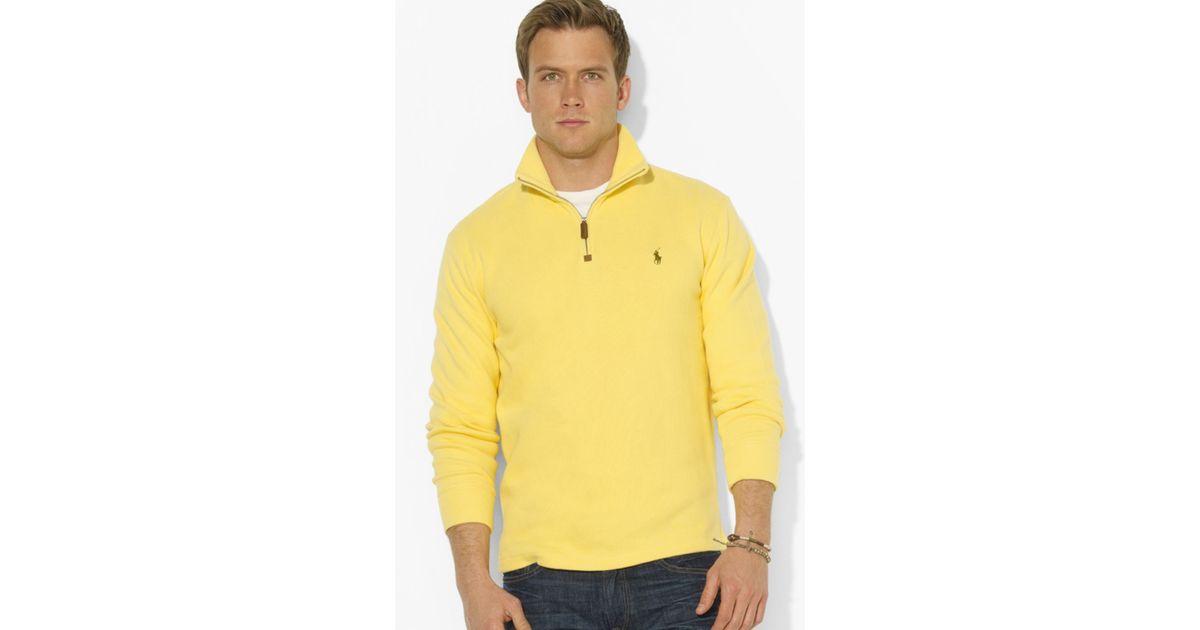 Lyst - Ralph Lauren Polo Frenchrib Halfzip Mockneck Pullover Sweater in  Yellow for Men