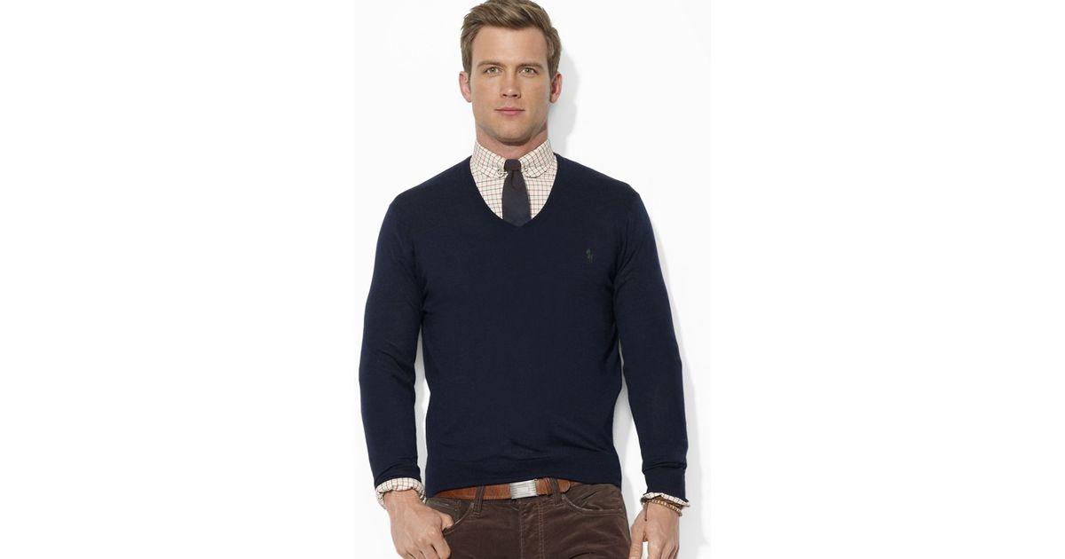35590f81 Ralph Lauren Blue Polo Merino Wool V-neck Sweater for men