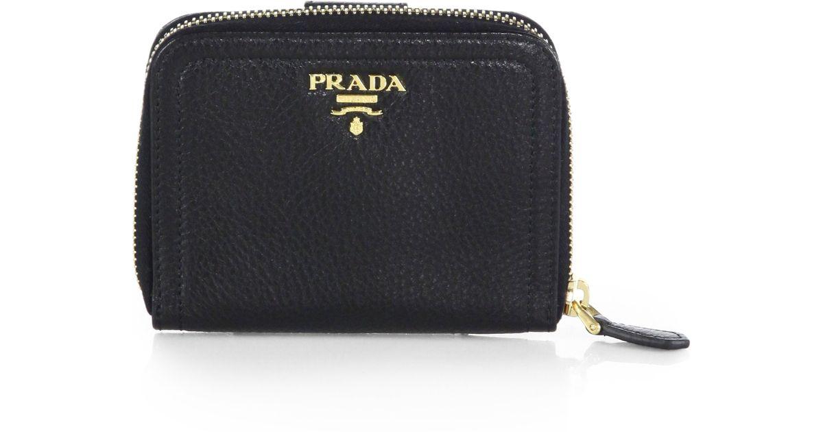 fcb6eb5654 Prada Daino Small Zip Around Leather Wallet in Black - Lyst
