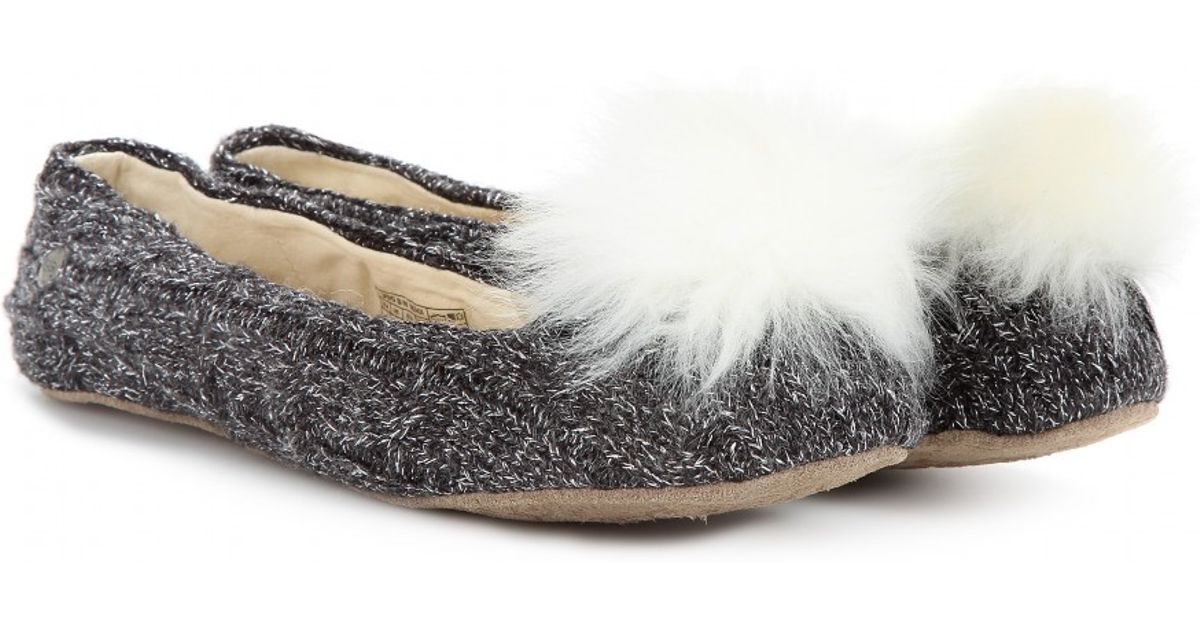 deacccd1ebd UGG Gray Andi Knitted Shearling Ballerinas
