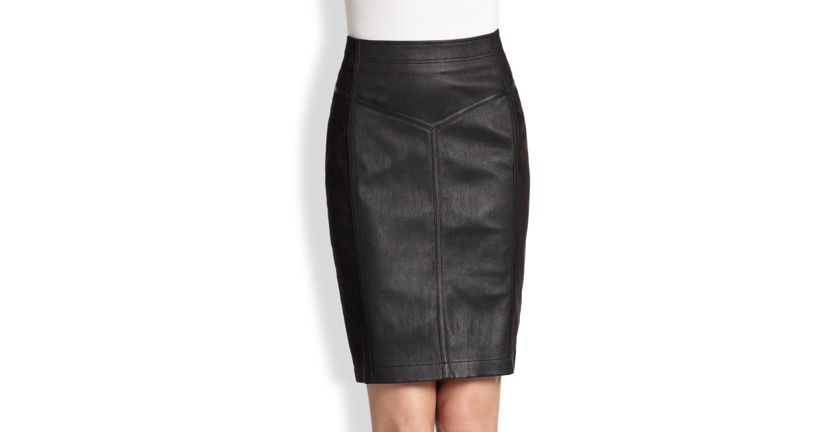 621a43d42637e7 Burberry Brit Leather Suede Skirt in Black - Lyst