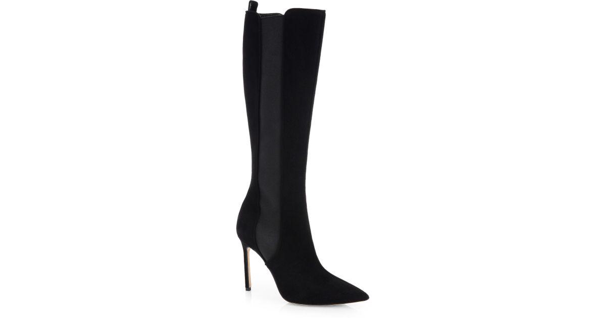 manolo blahnik suede stretch boots in black lyst