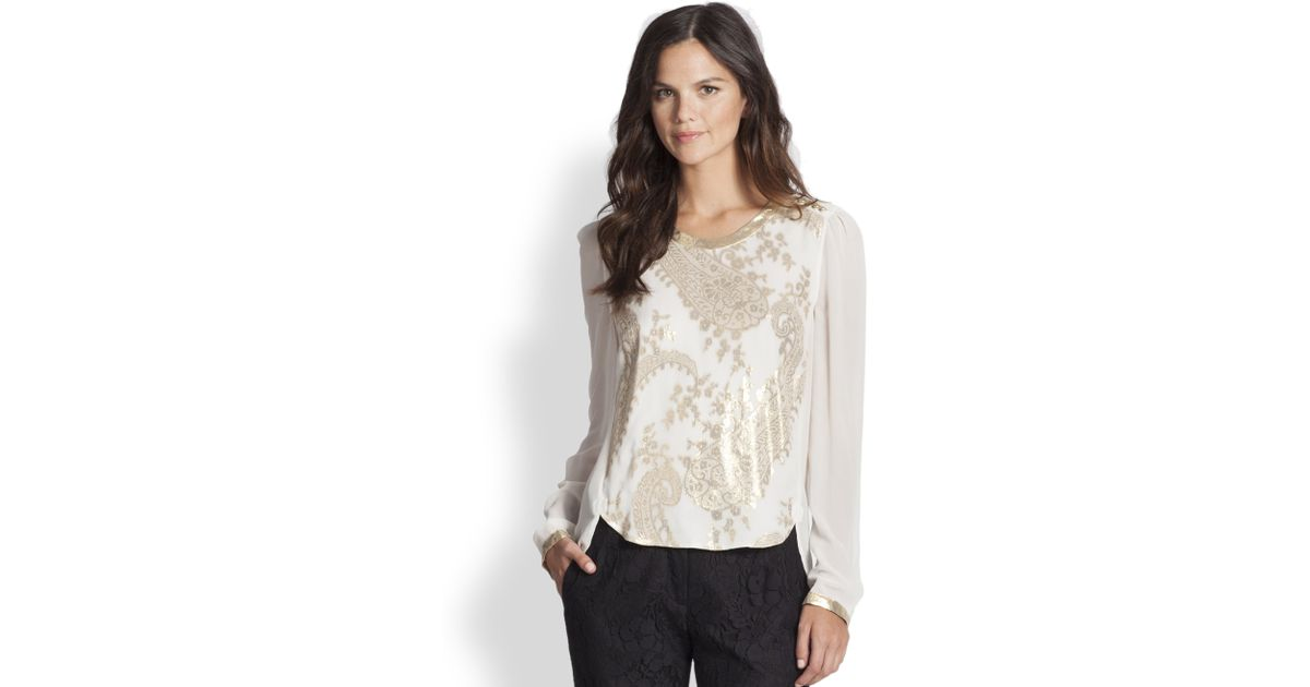 e8c7b9e668788c Marchesa Voyage Long Sleeve Top in Natural - Lyst