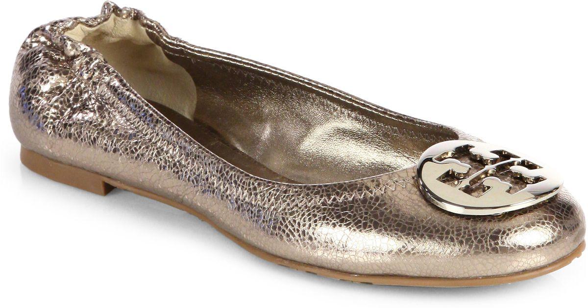 57eef23e2 Lyst - Tory Burch Reva Crackled Metallic Leather Ballet Flats in Metallic