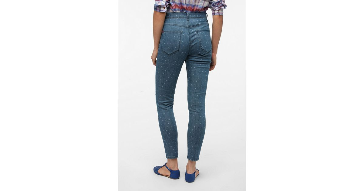 12b36e1871510 Urban Outfitters BDG Highrise Seamed Jean Polka Dot in Blue - Lyst