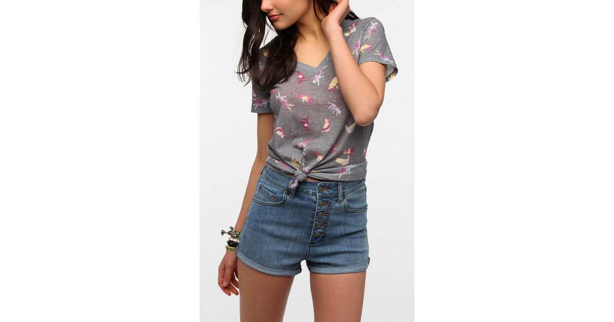 Lyst urban outfitters bdg printed v neck tee in gray for Lucky cat shirt urban outfitters