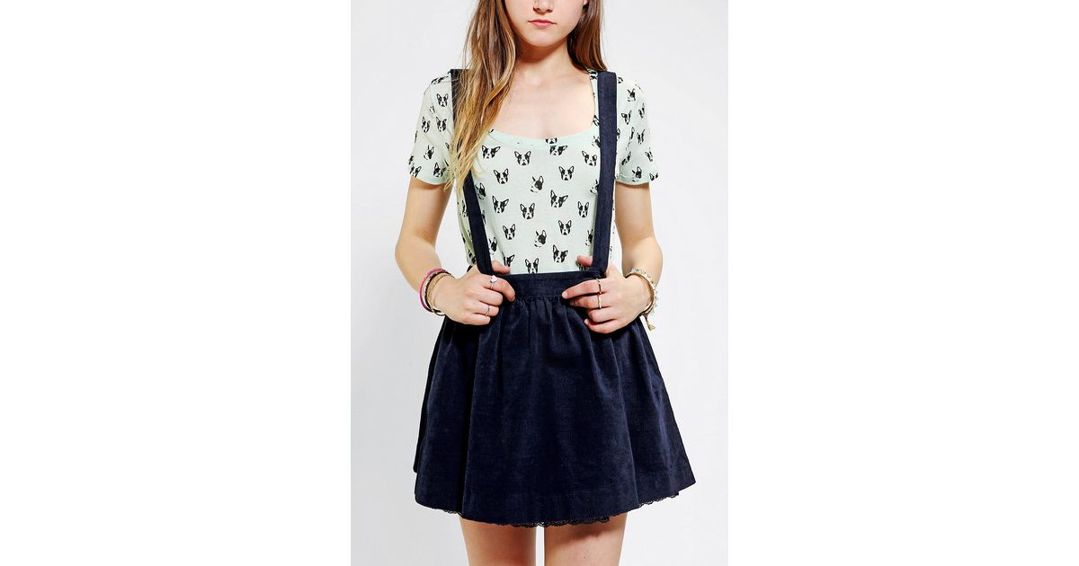 742382bd62 Urban Outfitters Coincidence Chance Corduroy Suspender Skirt in Blue - Lyst