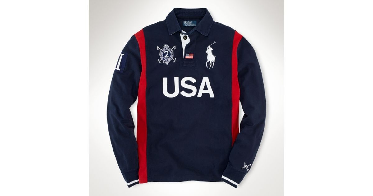 Rugby Men Usa For Blue Custom Polo Longsleeved Lauren Ralph l13FKcTJ