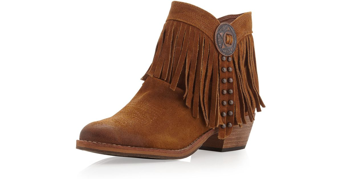 f547367b67c218 Lyst - Sam Edelman Sideney Fringe Ankle Boot Whiskey in Brown