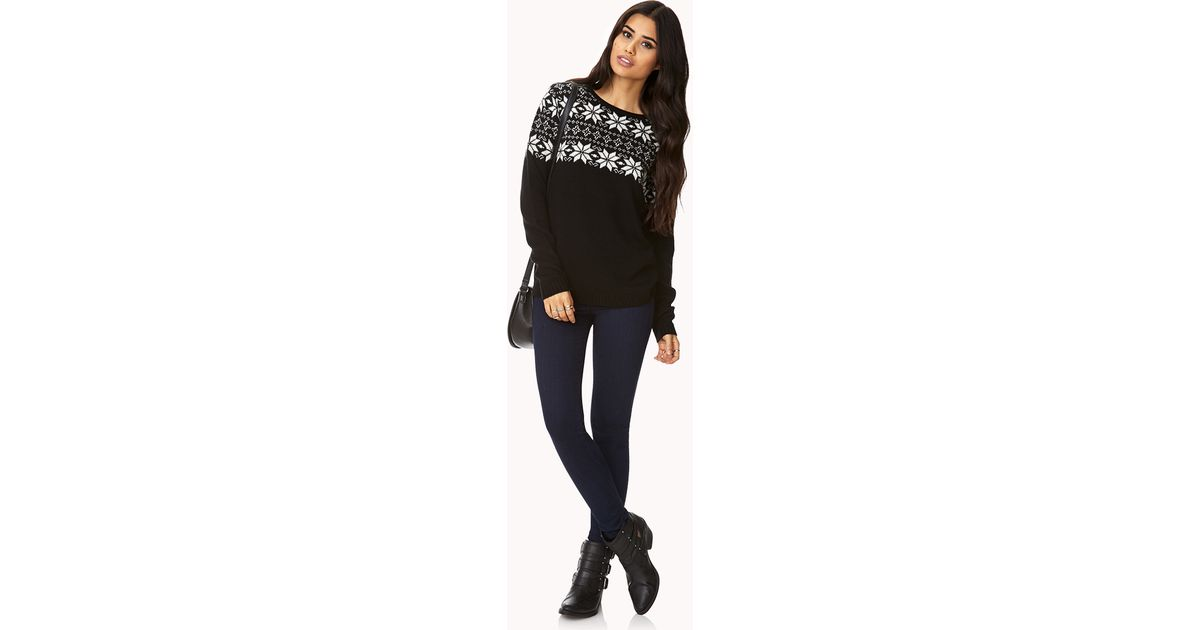 Lyst - Forever 21 Favorite Fair Isle Sweater in Black