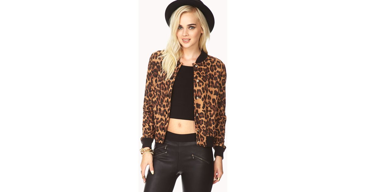 05231e83c8a2 Forever 21 Run Wild Leopard Varsity Jacket in Brown - Lyst
