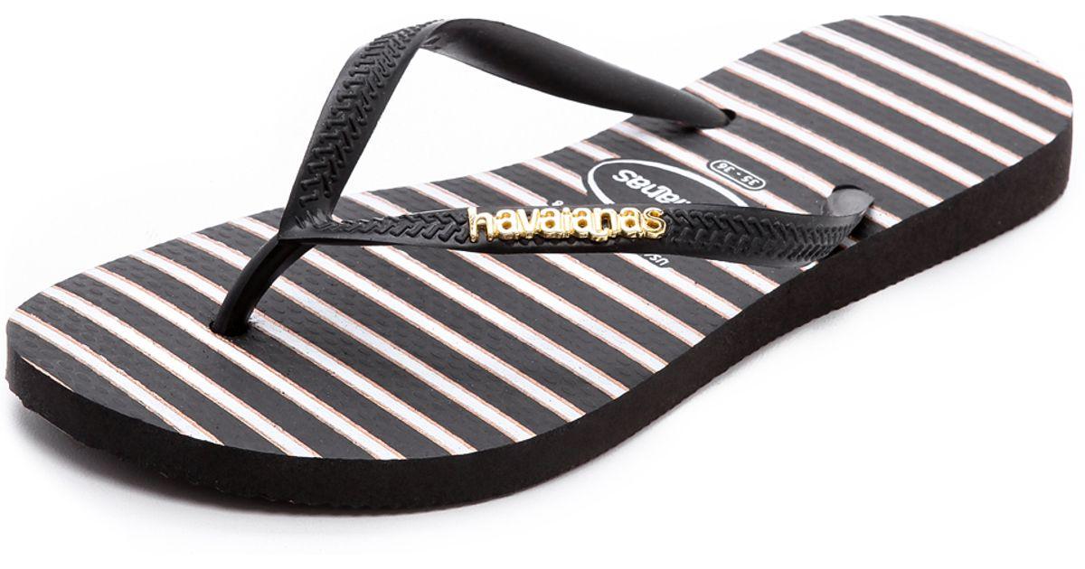 eceaba7db Havaianas Slim Stripe Metal Logo Flip Flops in Black - Lyst